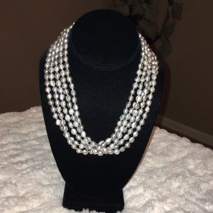 GREY CULTURED PEARL BEADED 5- STRAND NECKLACE EUC